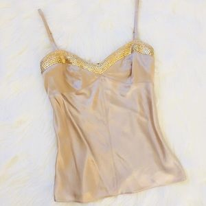 NWT gold silky sequence Cami top!!